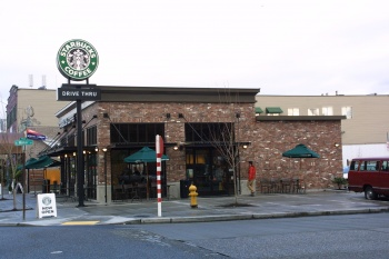 Starbucks 1st and Walker was designed by Mulvanny and built by Wilcox Construction